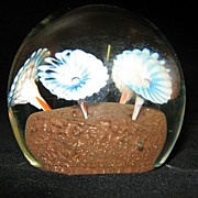 SALE Clear Paperweight With Blue and White Flowers