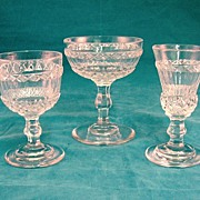 SALE American Cut Glass Champagne, Wine, & Ale Glass Circa 1850-1880's