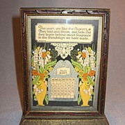SALE Gibson Perpetual Calendar Friendship Motto Print On Stand 1926