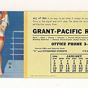 SALE Grant Pacific Rock Company 1944 Blotter & Calendar With A Pretty Girl