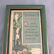SALE Framed Birthday Greetings 1920's
