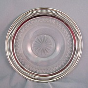 SALE Rochester Company Cut Glass Plate With Wilcox Silverplate Rim