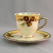 SALE Ransgil China Demi Cup and Saucer With Handpainted Pinecones