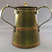 SALE Russian 3 Handled Arts & Crafts Brass & Copper Beer Tankard