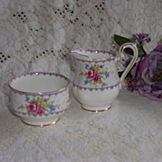 Royal Albert PETIT POINT Small Cream & Sugar Set