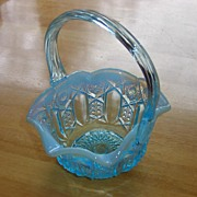 REDUCED Blue Opalescent Bride's Basket ~ GORGEOUS