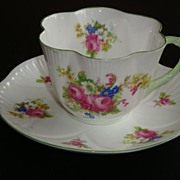 REDUCED Shelley Dainty HULMES ROSE Tea Cup and Saucer - #12240