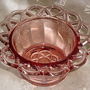 REDUCED Imperial Glass Co. Pink Crocheted / Laced Edge Bowl