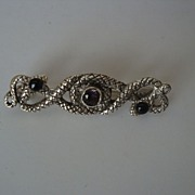 REDUCED Art Deco Sterling Silver Marcasite Snake and Amethyst Brooch