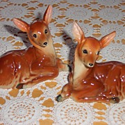 REDUCED Vintage Pair of Shafford Fawn / Deer Figurines