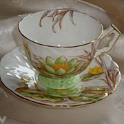 Aynsley Textured Crocus Shape Water Lilies Tea Cup and Saucer
