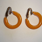 REDUCED Butterscotch Bakelite Hoop Clip Earrings ... Circa 1920's