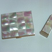 REDUCED Marhill Mother of Pearl Compact with Matching Lipstick Tube