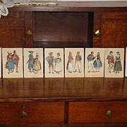 REDUCED 1/2 PRICE.....Selection of Eight Theatrical Costume Cards Lithographs�circa 1870