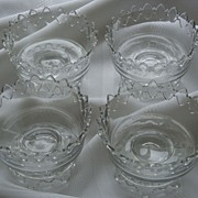 REDUCED Set of Four Exquisite Vintage Glass Fruit Nappies ~ STUNNING