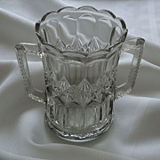 REDUCED Elegant Early American Pressed Handled Glass Celery Vase / Spooner