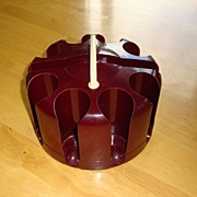 Vintage Brown Poker Chip Storage Rack / Carousel / Caddy / Holder