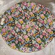 REDUCED Royal Winton Balmoral Round Open Handled Cake Plate ~ Pattern #376
