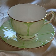 REDUCED Aynsley Textured Crocus Shape Minty Green Cup and Saucer ~ BEAUTIFUL