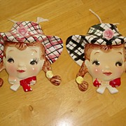 REDUCED Adorable Pair of Figural Girl Wall Pockets ~ 1950's