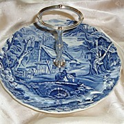 Old Foley James Kent Blue Transferware Handled Serving Tray