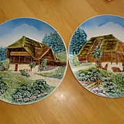 Pair of German Schwarzwald Zell Baden Charger Wall Plates 2214 and 2215