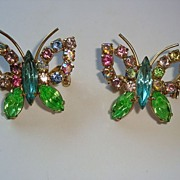 Pair of Vintage Colorful Rhinestone Butterfly Scatter Pins