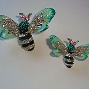 Pair of Vintage Enamel & Rhinestone Bee / Wasp Insect Pins