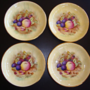 Aynsley Bone China Orchard Gold Butter Pats Signed D Jones