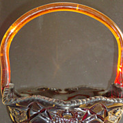 Vintage L.E. Smith Quintec  Amberina Pressed Glass Basket