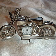 Chrome Quartz Motorcycle Desk Clock