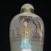 Antique Oriental Reverse Painted Perfume Bottle with Stopper