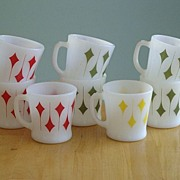 8 Fire King D Handle Kites Coffee Mugs - 1960's