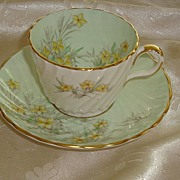 Signed JA Bailey Aynsley Floral Demitasse Coffee Cup and Saucer