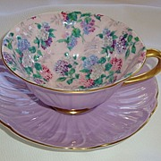 Shelley Summer Glory Mauve Tea Cup & Saucer ~ Oleander Shape ~ Pattern 13418
