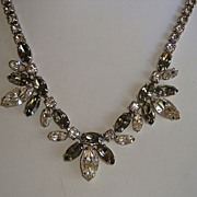 Signed Sherman Grey and Clear Rhinestone Adjustable Necklace