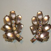 Pale Ice Pink Lucite and Rhinestone Clip Earrings