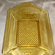 Antique McKee Glass Co. Amber ' Deer and Pine Tree ' Handled Bread Tray