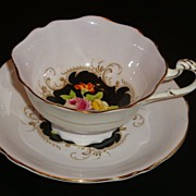 REDUCED Paragon Floral on Black with Lavender Tea Cup and Saucer