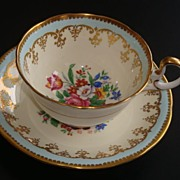 Aynsley Blue Gold and Floral Motif Tea Cup and Saucer