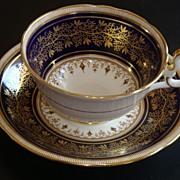 REDUCED AYNSLEY Cobalt on Cream with Gold Tea Cup & Saucer