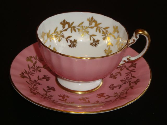 Aynsley #2312 Gold Design and Dark Pink Tea Cup and Saucer Set