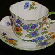 AYNSLEY Florals on White Textured Tea Cup and Saucer ~ B3250