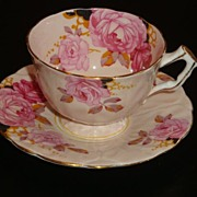 Aynsley Textured Crocus Shape Pale Pink with Roses Tea Cup and Saucer