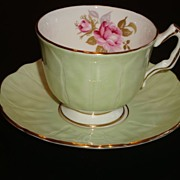 Aynsley Textured Crocus Shape Pale Green  with Roses Tea Cup and  Saucer