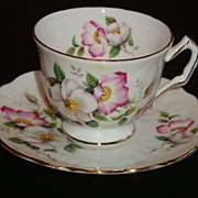 Aynsley Textured Crocus Shape Wild Roses Tea Cup and  Saucer