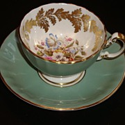 Aynsley Gold Leaf and Floral Bouquet Tea Cup and Saucer