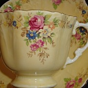 Aynsley Yellow and Floral Tea Cup and Saucer Set - English Bone China
