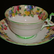 Aynsley England Hydrangeas with Green Tea Cup and Saucer ~ Pattern B1494
