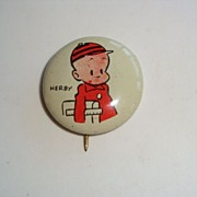 Kellogg's 1945 Pep Cereal Premium, Herby Comic Tin Litho Pin  Button